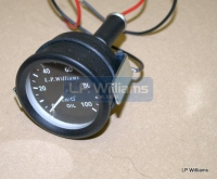LP Wiliams Oil pressure gauge  2inch Diameter body. 1/8 BSP Smiths fitting for pipe connections c/w backlight