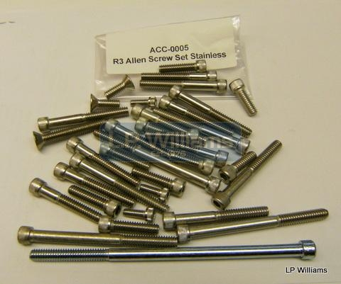 R3 Allen screw set in stainless All outer case screws including Timing cover, gearbox and primary cover